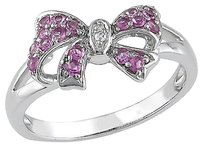 Sterling Silver Diamond And 13 Ct Tgw Pink Sapphire Bow Fashion Ring Gh I2i3