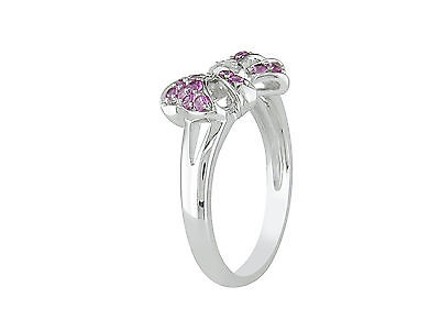 Other Sterling Silver Diamond And 13 Ct Tgw Pink Sapphire Bow Fashion Ring Gh I2i3