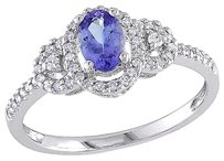 10k White Gold 16 Ct Diamond Tw And 0.45 Ct Tgw Tanzanite Ring Gh I2i3