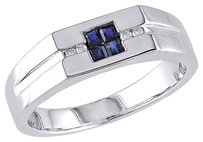 Sterling Silver Diamond And 13 Ct Tgw Sapphire Fashion Ring Gh I2i3size 9