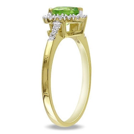 Other 10k Yellow Gold 110 Ct Diamond Tw And 45 Ct Tgw Peridot Heart Ring Gh I2i3