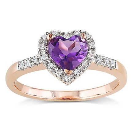 Other 10k Pink Gold 110 Ct Diamond 35 Ct Amethyst Heart Love Ring Gh I2i3