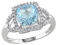 Other 10k White Gold 15 Ct Diamond Tw And 2 45 Ct Sky Blue Topaz Ring Gh I1i2