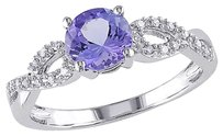 10k White Gold 110 Ct Diamond And 1 Ct Tanzanite Crossoverring Gh I1i2