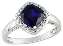 Sterling Silver 2 Ct Tgw Blue Sapphire Fashion Ring