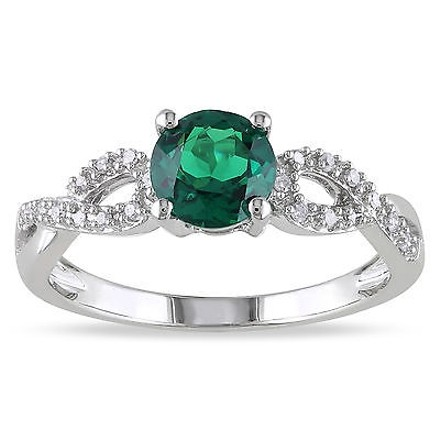 Other 10k White Gold 110 Ct Diamond 45 Ct Emerald Crossover Fashion Ring Gh I1i2