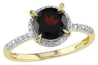 10k Yellow Gold Garnet And Diamond Accent Ring G-h I2-i3