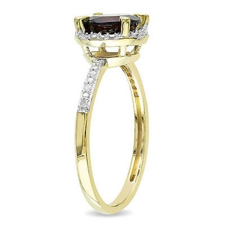 Other 10k Yellow Gold Garnet And Diamond Accent Ring G-h I2-i3