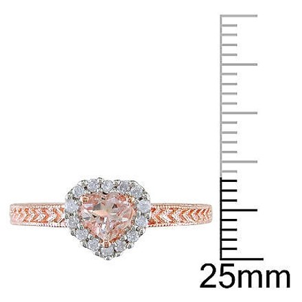 Other Pink Sterling Silver 17 Ct Diamond 12 Ct Morganite Fashion Ring Gh I2i3