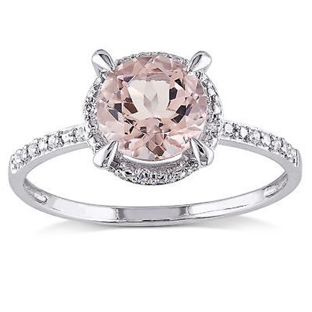 Other 10k White Gold Diamond And 1 16 Ct Tgw Morganite Fashion Ring Gh I2i3