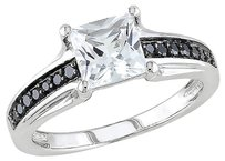 Sterling Silver 17 Ct Black Diamond Tw And 1 13 Ct Tgw White Sapphire Ring