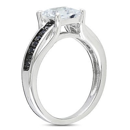 Other Sterling Silver 17 Ct Black Diamond Tw And 1 13 Ct Tgw White Sapphire Ring