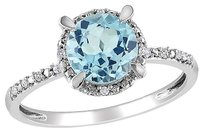 10k White Gold Diamond And 1 35 Ct Sky Blue Topaz Fashion Ring Gh I2i3