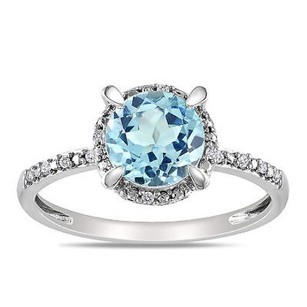 Other 10k White Gold Diamond And 1 35 Ct Sky Blue Topaz Fashion Ring Gh I2i3
