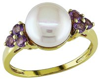 10k Yellow Gold 14 Ct Amethyst 8 - 8.5 Mm White Freshwater Pearl Fashion Ring