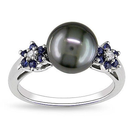 Other 10k White Gold Diamond 14 Ct Sapphire 9-10 Mm Black Tahitian Pearl Fashion Ring