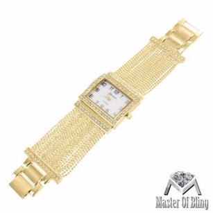 Square Dial Watch Yellow Gold Tone White Dial Simulated Diamonds Ladies Unique