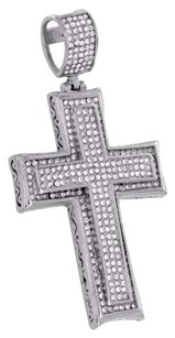 Other Stainless Steel Cross Pendant Jesus Crucifix White Simulated Diamonds Unique