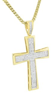 Other Stainless Steel Necklace Jesus Cross Pendant Gold Finish Simulated Diamonds 24