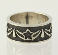 Star Ribbon Ring - 925 Sterling Silver Womens Fine Estate Antiqued Band 5.25