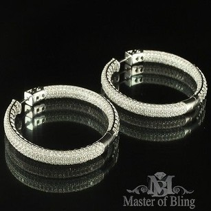 Sterling Silver Hoops White Gold Finish Design Round Design Lab Diamond Pave