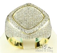 Sterling Silver Ring 14k Gold Finish Simulated Diamond Hip Blinged Men Party