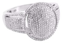 Sterling Silver Round Ring Pave Set Round Cut Diamonds Wedding Engagement Bridal