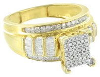 Sterling Silver Womens Ring Wedding Engagement Genuine Diamonds Gold Finish