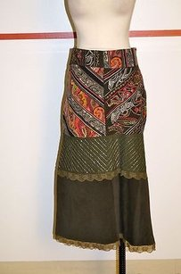 Other Stradivarious Green Yellow Pink White Poly Blend Tea Length Skirt Multi-Color