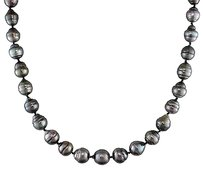14k White Gold 17 8-11 Mm Graduated Black Tahitian Pearl Necklace Ball Clasp
