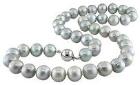 Other 18 9-10 Mm Freshwater Grey Pearl Necklace Silver 9 Mm Pressure Ball Clasp
