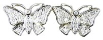 Ladies Womens 14 Mm Butterfly Xl Diamond Stud Earrings