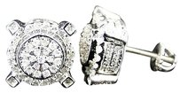 Mens Ladies Round White Gold Diamond 11 Mm Prong 3d Studs Earrings 1.0 Ct