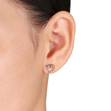 Other Rose Gold Flashed Silver Diamond Accent Stud Heart Love Two-tone Earring