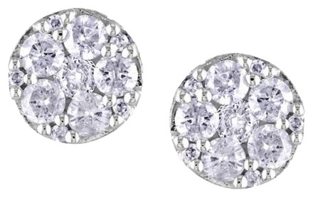 Other 10k White Gold Diamond Flower Nature Geometric Stud Butterfly Earrings 12 Ct