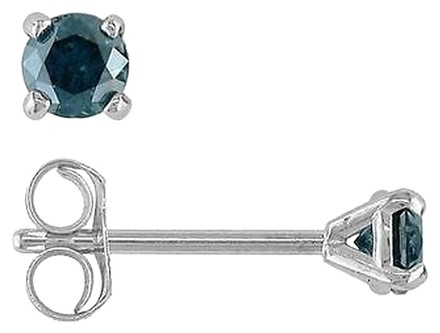 Other 14k White Gold Blue Diamond Solitaire Martini Stud Earrings 13 Cttw Blue I2-i3