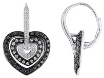 Sterling Silver 1 Ct Black And White Diamond Heart Love Leverback Earrings Gh I3
