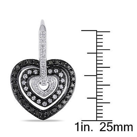 Other Sterling Silver 1 Ct Black And White Diamond Heart Love Leverback Earrings Gh I3