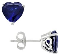 Sterling Silver Created Sapphire Heart Love Stud Earrings 4.52 Ct Tgw