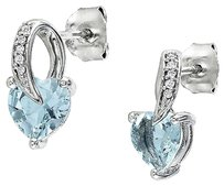 Sterling Silver Diamond And 1 13 Ct Aquamarine Heart Love Stud Earrings I2i3