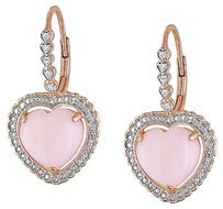Other Pink Silver 4.05 Ct Tw Pink Heart Love Opal Diamond Dangle Leverback Earrings