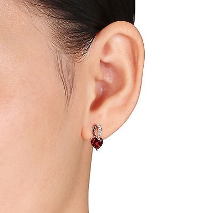 Other 10k Pink Gold Diamond And 1 12 Ct Garnet Heart Love Stud Earrings Gh I2i3