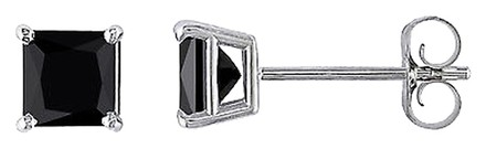 Other 14k White Gold 34 Ct Black Princess Diamond Stud Earrings