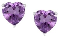 Other Sterling Silver Amethyst Heart Love Stud Earrings 3.2 Ct Tgw