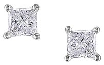 Other 18k White Gold Diamond Stud Screw Back Earrings 1 Cttw G-h Vs2