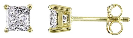 Other Amour 14k Gold Princess Cut Diamond Square Geometric Solitaire Stud Earrings