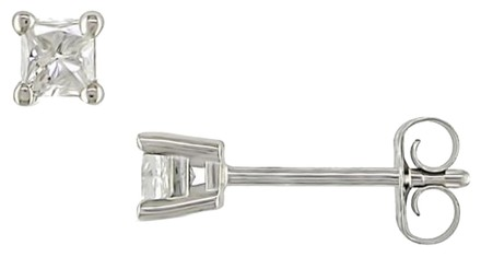 Other 14k White Gold Diamond Solitaire Stud Earrings 0.25 Cttw G-h I1-i2