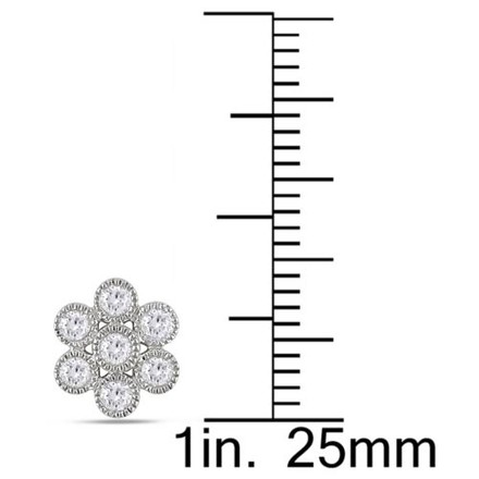 Other 14k White Gold Diamond Flower Nature Earrings 0.5 Cttw H-i Si1-si2