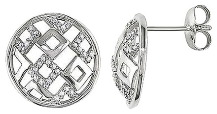 Other Sterling Silver Diamond Accent Stud Geometric Earrings 15 Ct Tdw G-h I2-i3