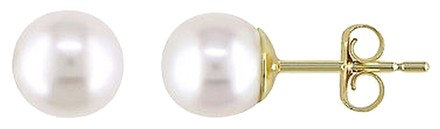 Other 14k Yellow Gold Cultured Freshwater Pearl Stud Earrings 6-6.5 Mm
